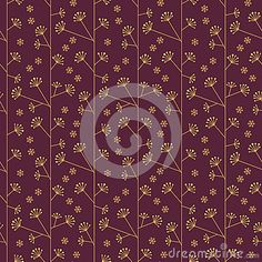 Seamless abstract pattern with flowers in gold and purple colors. Suitable for web, print, wallpaper, gift wrapping, home decor, fashion, invitation background, textile design. Layered EPS8 vector file for easy manipulation and coloring.
