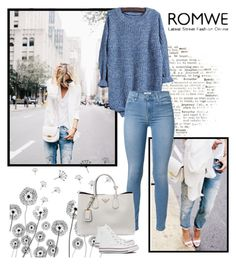 """Romwe"" by istrijana ❤ liked on Polyvore featuring 7 For All Mankind, Prada and Converse"