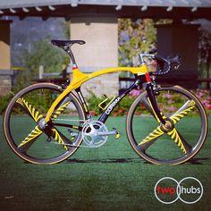 Corima Puma Mavic Mektronic Complete Bike at twohubs.com #bikeporn #twohubs #corima #puma #carbonfiber #madeinfrance #madeinfrance #madeinfrance #yellow #mavic #mektronic #electricshift #starfish #4spokes #selleitalia #flite