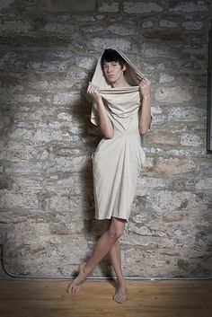 <3 Another view of the double t-shirt dress. (2 cotton-poly t-shirts reconfigured into draped dress)