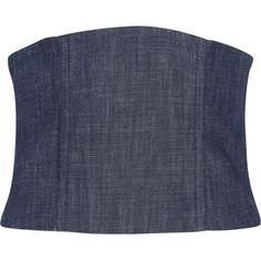 Tibi Mesh-paneled denim corset (8.510 UYU) ❤ liked on Polyvore featuring dark denim and tibi