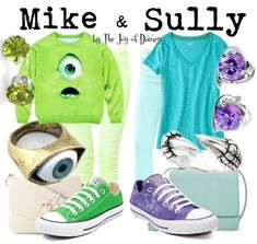 Affordable casual outfits inspired by Mike and Sully from Monsters Inc!All these pieces are $55 or less!