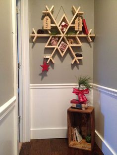 Snowflakes are a reminder of the playfulness of snow days. Even if you live someplace that gets no snow.  Snow-My DIY Wooden Snowflake Shelf