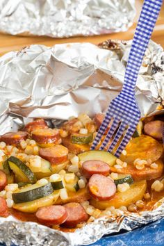 Cheddar Barbecue Sausage and Potato Foil Pack Dinner - a simple recipe with easy cleanup for cooking on a campfire or reliving camping memories at home made with @jvillesausage. Gluten free. #ad   cupcakesandkalechips.com