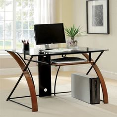 This Sirga computer desk features modern sophistication design desk is topped with a chic tempered-glass, accessorized with pull-out keyboard tray, and greatly supported with stylish two-tone intersecting leg supports.