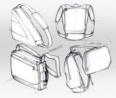 Concept design sketches of various soft goods products and problem-solving ideas