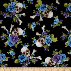 Michael Miller Skulls Out Skull and Roses Purple from @fabricdotcom  From Michael Miller Fabrics, this cotton print fabric is perfect for quilts, home décor accents, craft projects and apparel. Colors include black, white, brown, blue and green.