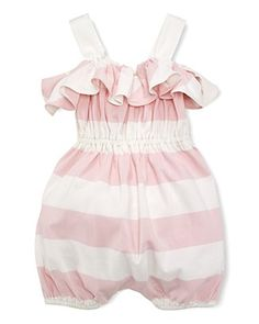 Ralph Lauren Childrenswear Infant Girls' Stripe Romper - Sizes 9-24 Months | Bloomingdale's