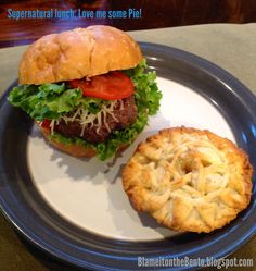 "Supernatural Pi Day ""love me some pie"" Dean Winchester Lunch ~ beef & mushroom burger, ""absolutely no leviathan food additives"" & ""protected"" apple pie ~ LOL! 