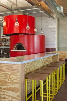 Shakey's pizza restaurant in LA. Make your pizza oven a design statement. Ideas and inspiration for restaurants, bistros and pizza places. Pizza Restaurant, Restaurant Kitchen, Modern Restaurant, Plywood Furniture, Design Furniture, Plywood Interior, Decoration Restaurant, Restaurant Interior Design, Restaurant Interiors