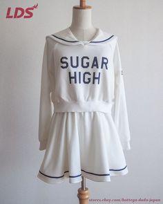 LDS from Japan Sweat Top and Skirt Set, Sailor collar, Casual Lolita Kawaii #LDS #2piece #Casual