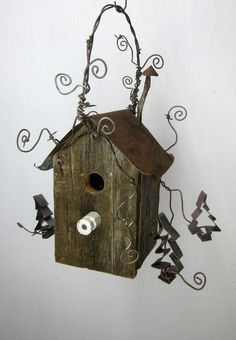 Rustic Birdhouse Wit hCookie Cutter Trees
