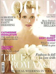 Lara Stone wearing Bruce Oldfield wedding dress on cover of Vogue May 2011 - Special Collector's Wedding Issue (includes feature on the Royal Wedding), shot by Mario Testino Vogue Magazine Covers, Fashion Magazine Cover, Fashion Cover, Vogue Covers, Lara Stone, Mario Testino, Vogue Uk, Natalia Vodianova, Vogue Wedding