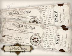 Custom Printable Wedding Invitation Ticket 7.5 x 2.5 inch printable images digital collage sheet VD0411