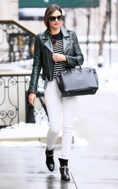 Miranda Kerr wears a Saint Laurent jacket and pair of boots, Hermes bag, and T by Alexander Wang top // #Celebrity #Style #Fashion