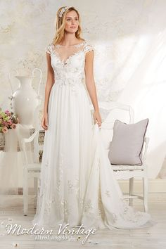 Alfred Angelo Bridal Style 8545 from Modern Vintage Bridal Gowns Modern Vintage Weddings, Vintage Style Wedding Dresses, Wedding Dresses Photos, Wedding Dress Trends, Vintage Bridal, Bridal Wedding Dresses, Wedding Dress Styles, Wedding Attire, Bridal Style