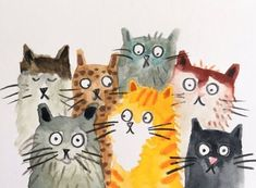 Small pile of cats - lorna scobie art school - animals cat drawing, cat art Animals Watercolor, Watercolor Cat, Watercolor Ideas, Watercolor Illustration, I Love Cats, Crazy Cats, Cute Cats, Funny Cats, Cat Drawing