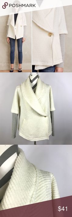 """{Dolan Left Coast} White Overland Sweater Coat Very Good Pre-loved Condition -- the material has acrylic so it has a shaggy appearance   Retails for $138 Size: M {RUNS BIG} Measured laying down flat: 27"""" long, 27.5"""" long sleeves,~21.5"""" across bust Material: Self - 45% Polyester + 36% Virgin Wool + 19% Acrylic / Contrast Polyester + Cotton + Rayon + Spandex / Lining Rayon Spandex Description: Thick soft material, textured, button front, hidden front pockets, gray contrast sleeves Comes from a…"""