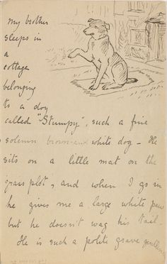 She knows that just because you're a dog named Stumpy doesn't mean you're not a gentleman. 11 Reasons Beatrix Potter Was The Most Charming Pen Pal Ever Beatrix Potter Illustrations, Beatrice Potter, Peter Rabbit And Friends, Pen Pal Letters, Letter B, Mail Art, Illustrators, Handwriting Samples, Cursive Handwriting
