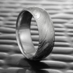 Men's Damascus Steel Ring Domed Men's Band   FINE WOOD — Steven Jacob Wide Wedding Bands, Wedding Men, Wedding Rings, Wedding Stuff, Damascus Ring, Damascus Steel, Wood Rings, Wedding In The Woods