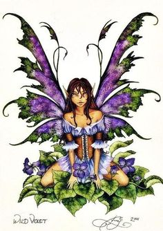 Amy Brown so my girl! ~ Wild Violet Fairy Print from 2001 by Amy Brown. Measures x 11 inches. Amy Brown Fairies, Elves And Fairies, Dark Fairies, Fantasy Fairies, Elves Fantasy, Dragons, Fairy Drawings, Kobold, Fairy Pictures