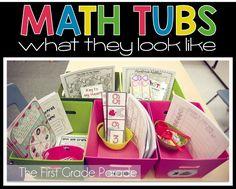 Math Center Set-Up & Organization try having only 5 tubs a week with kiddos at each - cuts down on planning Fun Math, Math Games, Math Activities, Math Math, Kindergarten Math, Math Stations, Math Centers, Preschool Centers, Second Grade Math