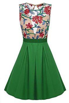 687428bac0c Green Floral Print See-Through Top Mini Skater Dress