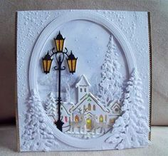 Want to know more about Handmade Christmas Cardswhite on white village and trees, add lamp postWhite Christmas card via DoCrafts hearts come home bundlechristmas oval aperture cards with cottage scenes scnes Homemade Christmas Cards, Merry Christmas To All, Stampin Up Christmas, Christmas Cards To Make, Xmas Cards, Handmade Christmas, Homemade Cards, Holiday Cards, Christmas Crafts