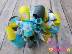 Aqua Grey and Yellow Boutique Funky Bow by LittleBitBows on Etsy