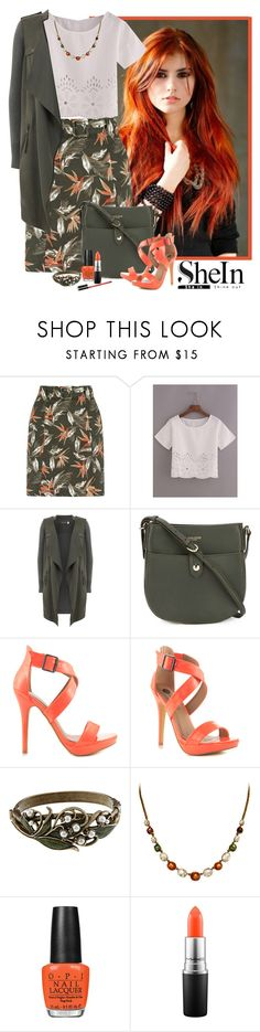 """SheIn laser cut loose fit top"" by lorrainekeenan ❤ liked on Polyvore featuring Oasis, Mint Velvet, Nina Ricci, Michael Antonio, Sweet Romance, OPI, MAC Cosmetics and Hourglass Cosmetics"