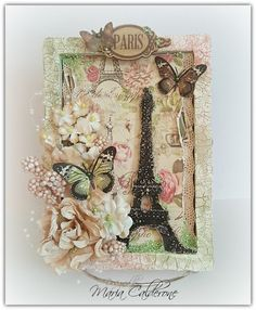 Paris themed mixed media project using Prima's wood tray.