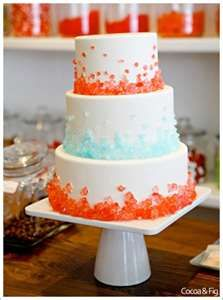 Peach and blue wedding cake.