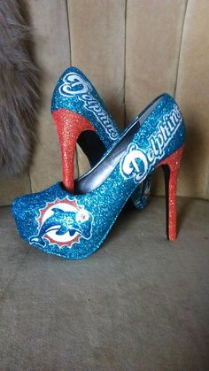 custom made heels sizes 6-10 . Miami Dolphins by GlamAndGloryLab