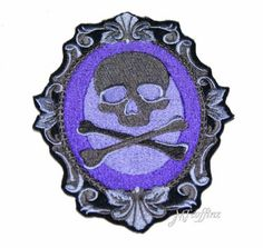 Purple Grey Skull Crossbones Cameo Iron On Embroidery Patch MTCoffinz $12