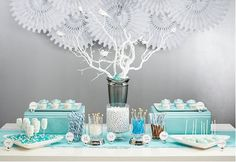 Sweets Table Inspiration - blue and silver - winter