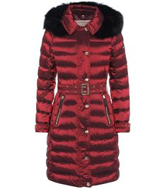 Fur-trimmed burgundy down coat