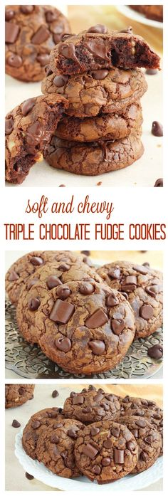 A chocolate lover's dream come true, these chocolate fudge cookies are soft, slightly chewy and packed with over a pound of chocolate! That's over 1 ounce of chocolate in each cookie!: