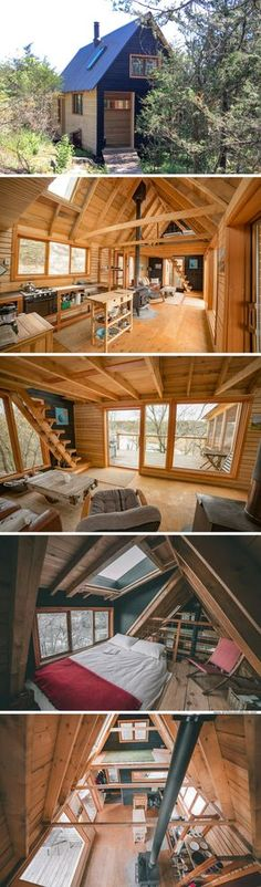 Open Floor Wooden Architecture Plan – You are in the right place about wood design simple Here we offer you the most beautiful pictures about the wood design ideas you are looking for. When you examine the Open Floor Wooden Architecture Plan – Tiny House Cabin, Tiny House Living, Tiny House Design, Cabin Homes, Cottage Design, Cottage House, Tiny House Wood Stove, Wood Cottage, Wooden House