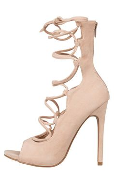 Allie Lace Up Heel (Nude) | Lilly's Kloset