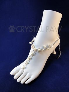 Crystal and Ivory Pearl foot Jewelry. Beach by CrystalPawCom