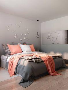 спальня в серо-розовых тонах