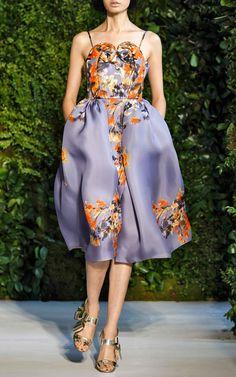 Floral Swirl Bodice Dress by DELPOZO for Preorder on Moda Operandi