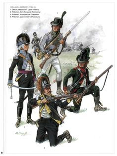 British; 1.Waldstein's Light Infantry, Officer, 2. York Rangers, Rifleman, 3. Hompesch's Chasseurs, Rifleman & Lowenstein's Chasseurs, Rifleman, Holland & Germany, 1794-95 by P.Courcelle