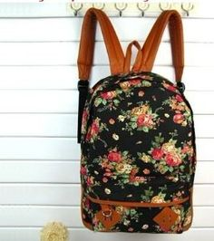 Amazon.com: Backapck Women girl lady Fashion Vintage Cute Flower School Book Campus Bag Backpack Color : Black BB 05: Everything Else