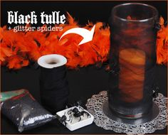 "wrap the vase ""mummy-style"", then tuck the loose end into one of the folds, so no tape or glue is required. use black sand instead of orange glass. don't worry about runs in the nylons or tears in the tulle – it's Halloween after all, so runs are actually appropriate!"
