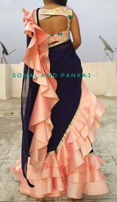 Ready To Wear Navy Blue & Peach Saree - – Sonal & Pankaj Fancy Dress Design, Stylish Blouse Design, Fancy Blouse Designs, Blouse Neck Designs, Fancy Sarees Party Wear, Saree Designs Party Wear, Party Wear Dresses, Lengha Blouse Designs, Half Saree Designs
