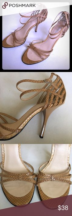 Snake Skin Strappy Heels Great condition heels with leather soles for extra comfort! Only worn a few times, no flaws. bebe Shoes Heels