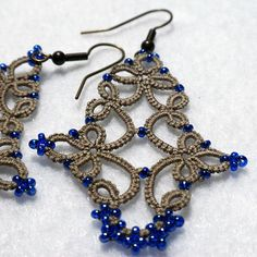 "Tatted Lace ""Ceisha"" Earrings in Lizbeth Linen. The beads are much closer to a denim blue."