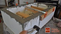 Learn how to make an outdoor gas fireplace. Detailed Video tutorial, photos, and plans.This is a high end looking fireplace made out of concrete! Outdoor Fire Table, Outdoor Gas Fireplace, Diy Concrete Countertops, Concrete Table, Backyard Pergola, Fire Pit Backyard, Fire Pit Area, Fire Pits, Diy Gas Fire Pit