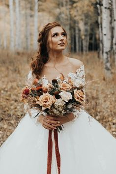 WeΓÇÖre dreaming of warm-toned, forest fairy tale weddings year-round, and this other-worldly fall wedding inspiration styled shoot by Katie Griffith Photography in Style 2309 Elsie is LITERALLY our dream come true! After Wedding Dress, Fall Wedding Dresses, Wedding Dress Sleeves, Autumn Wedding, Wedding Bouquets, Rustic Wedding, Wedding Flowers, Bridal Shoot, Wedding Shoot